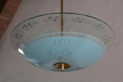 Italian Mid-Century Double Disc Pendant Lamp in Turquoise Color, 1950s