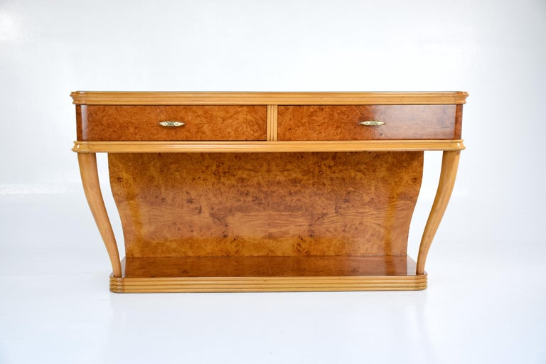 Birdseye Maple 20th Century Italian Vintage Dressing Table and Mirror, 1950s For Sale