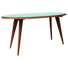 Italian Midcentury Elliptical Solid Beech Table with Green Formica Top, 1960s