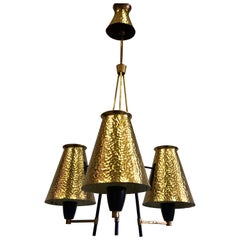 Italian Midcentury Enamel Metal & Hammered Brass Chandelier Attrib to Stilnovo