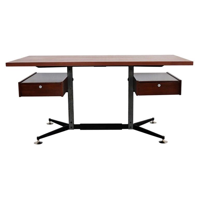 Italian Midcentury Executive Desk in Mahogany, 1960s For Sale
