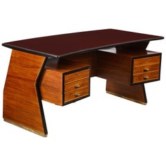 Italian Midcentury Executive Walnut and Glass Desk by Vittorio Dassi
