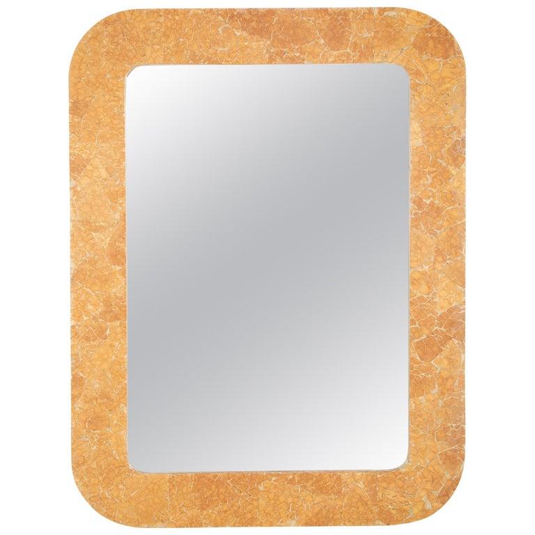 Italian Midcentury Faux Siena Marble Rectangular Mirror For Sale