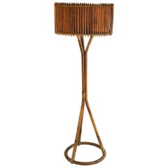 Italian Midcentury Floor Lamp in Bamboo