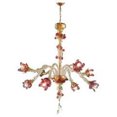 Italian Midcentury Floral Venetian / Murano Glass Chandelier