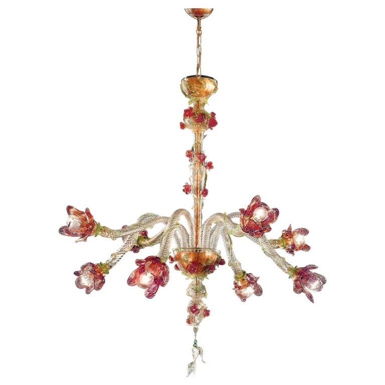Italian Midcentury Floral Venetian / Murano Glass Chandelier For Sale