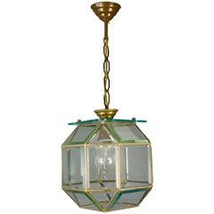 Italian Mid-Century Geometric Beveled Glass and Brass Pendant