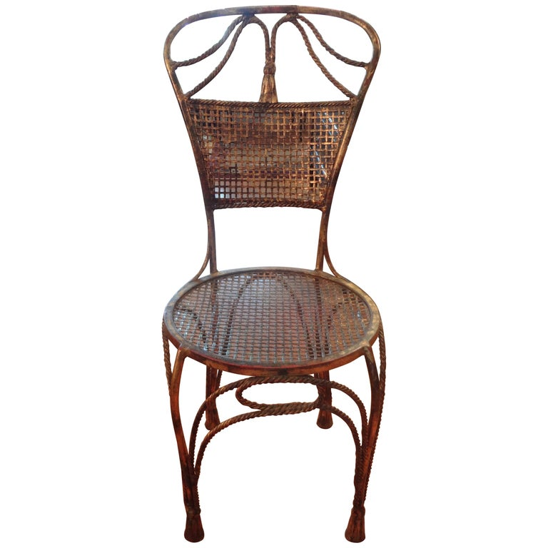 Italian Mid Century Gilt Iron Rope Chair For Sale At 1stdibs