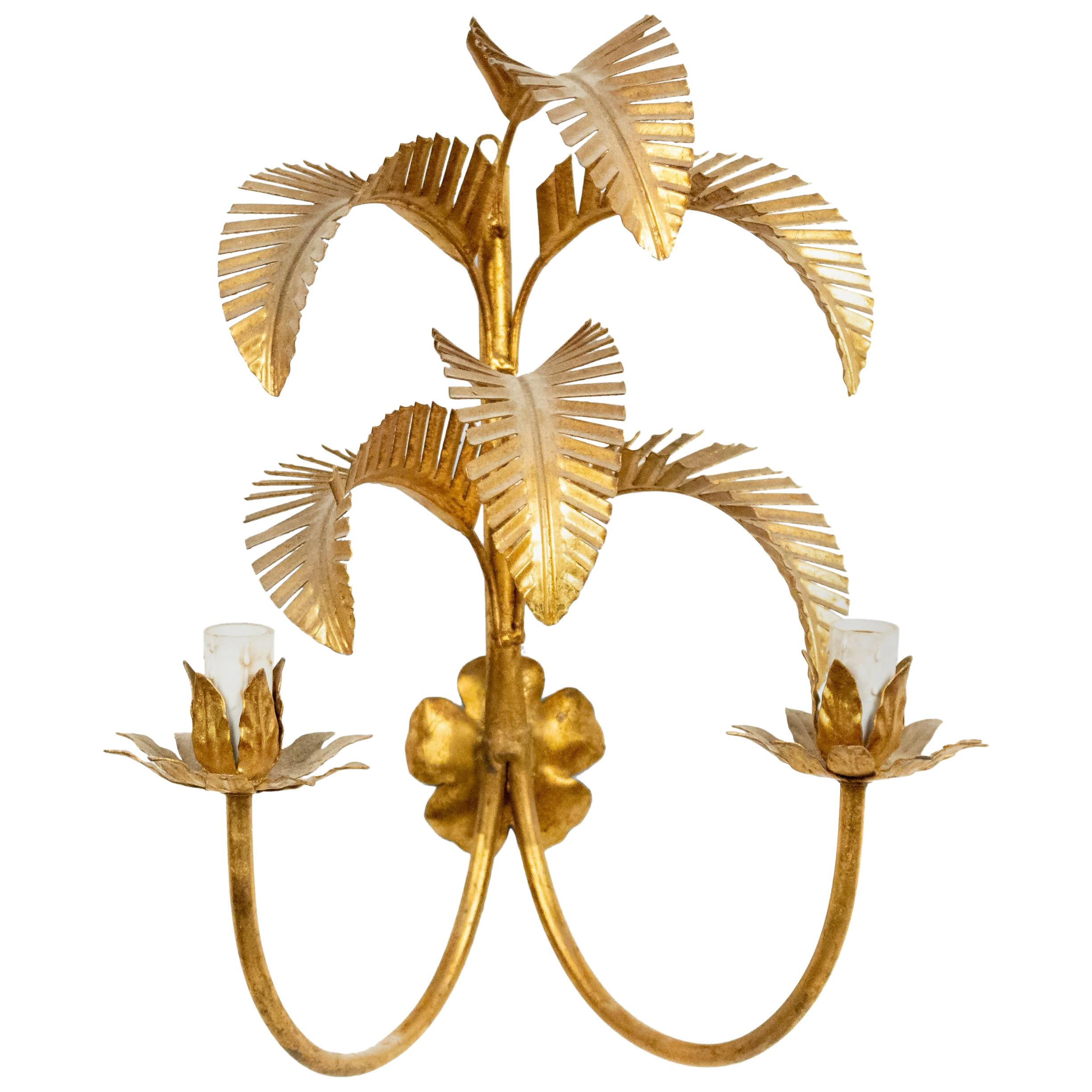 Italian Midcentury Gilt Palm Wall Sconce
