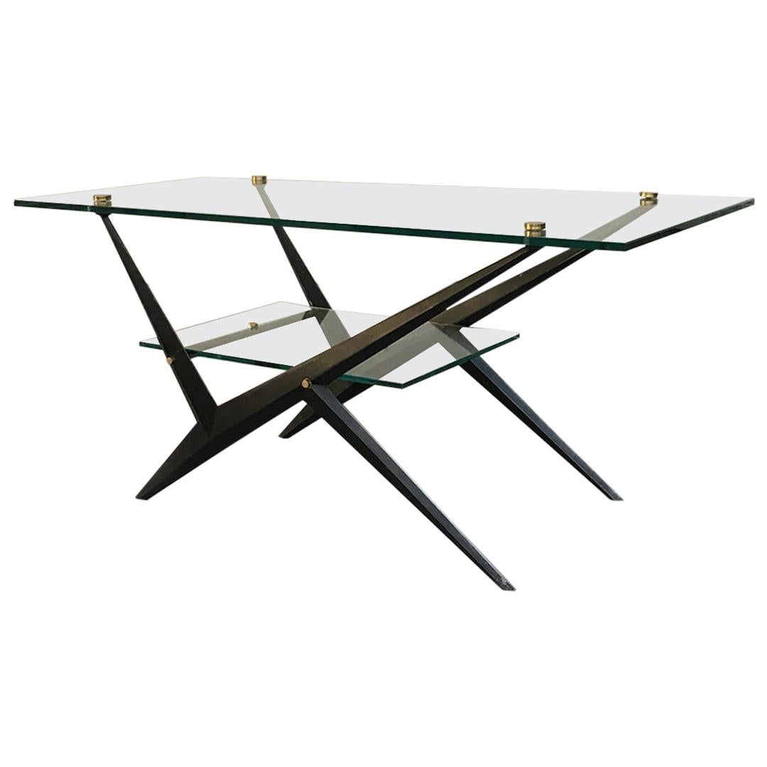 Italian Midcentury Glass, Iron and Brass Coffee Table by Angelo Ostuni, 1950s