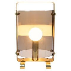 Italian Mid-Century Golden Brass Table Lamp with Smoked Glass, 1960s