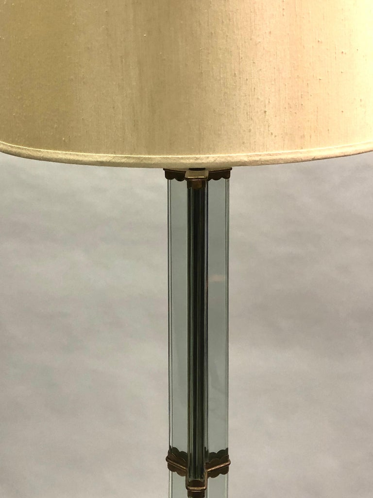 Hand-Painted Italian Midcentury Green Glass Floor Lamp by P. Chiesa for Fontana Arte, 1930 For Sale