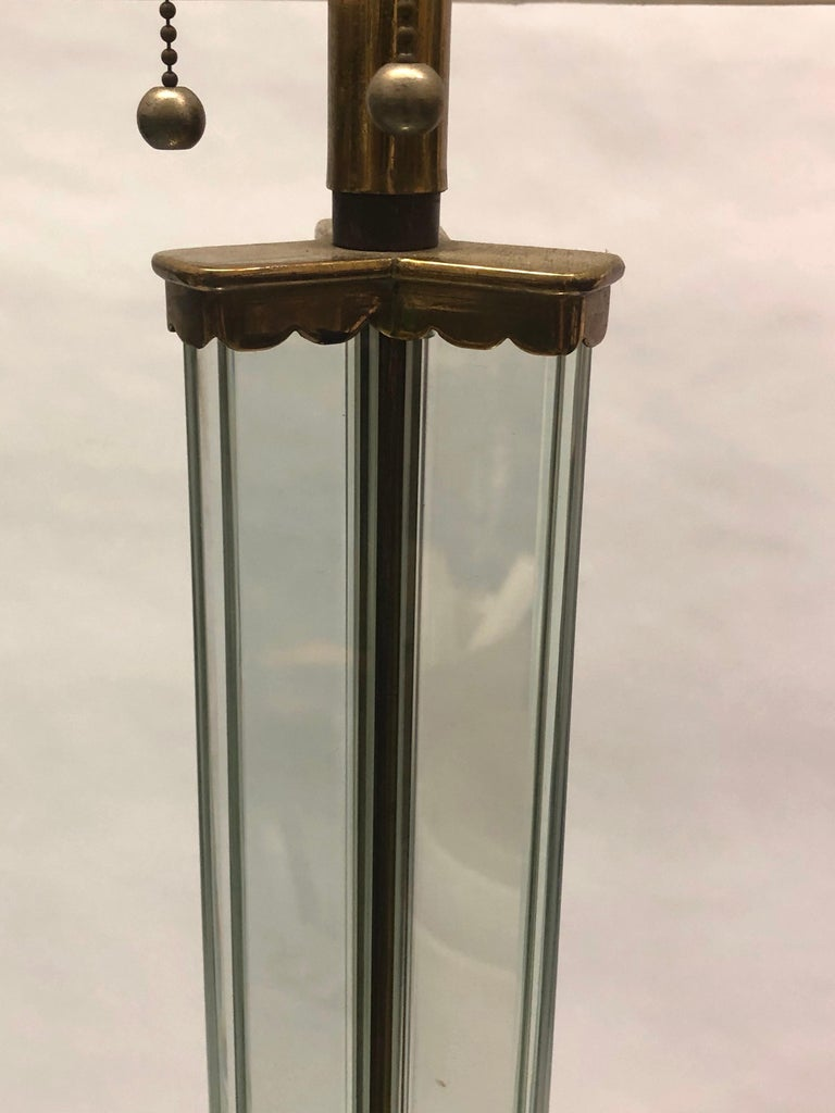 Brass Italian Midcentury Green Glass Floor Lamp by P. Chiesa for Fontana Arte, 1930 For Sale