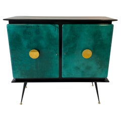 Italian Mid-Century Green Parchment and Gold Mirrors Bar Cabinet, 1950s