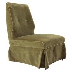 Italian Mid-Century Green Velvet Armchair, 1950s