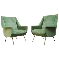 Italian Mid-Century Green Velvet Armchairs with Brass Structure, 1950s