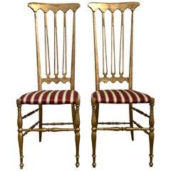 Italian Midcentury Hollywood Regency Style Giltwood Chiavari Chairs, Italy