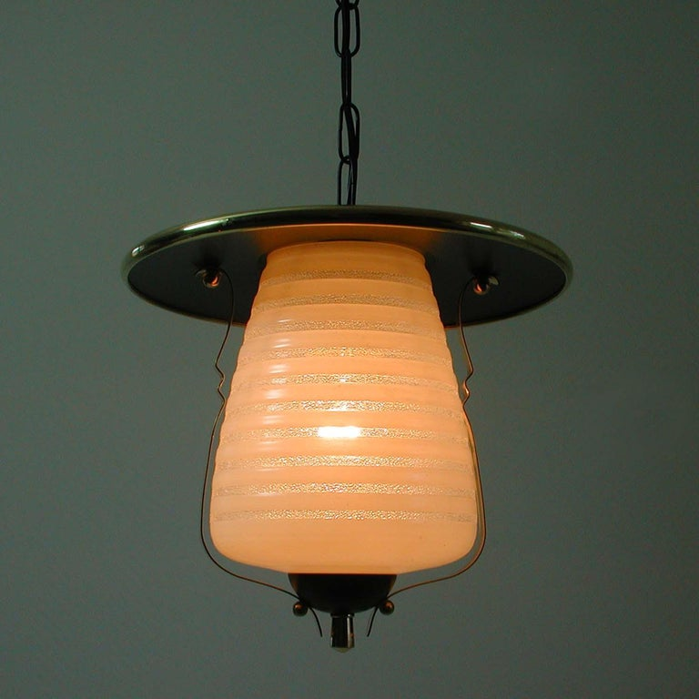 Italian Midcentury Lantern Pendant, Ceiling Light, 1950s For Sale 3