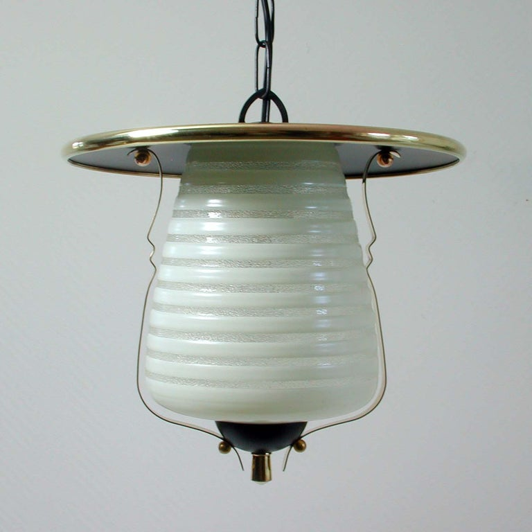 Lacquered Italian Midcentury Lantern Pendant, Ceiling Light, 1950s For Sale