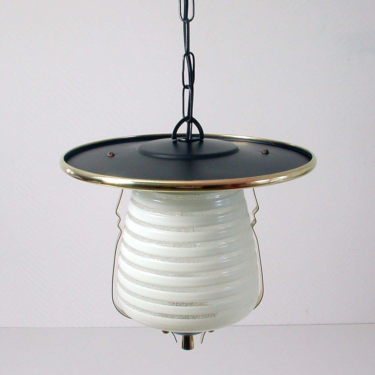 Italian Midcentury Lantern Pendant, Ceiling Light, 1950s In Good Condition For Sale In Nümbrecht, NRW