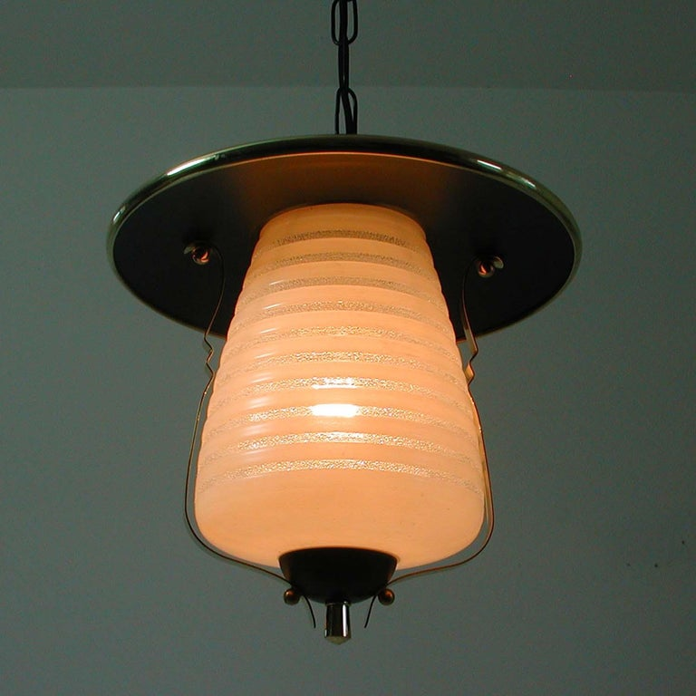 Metal Italian Midcentury Lantern Pendant, Ceiling Light, 1950s For Sale