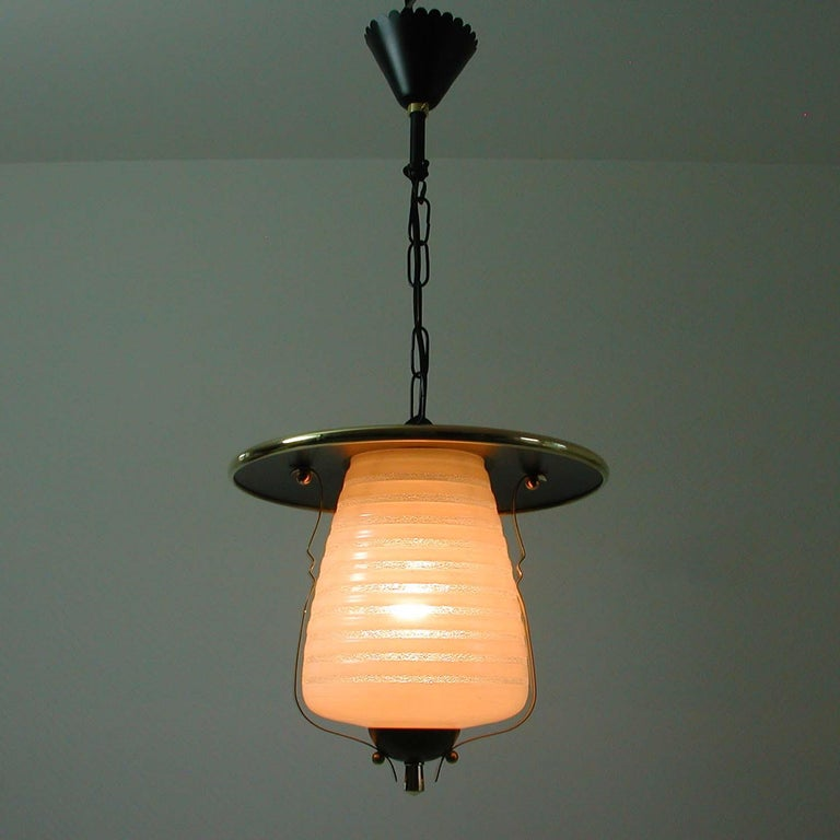 Italian Midcentury Lantern Pendant, Ceiling Light, 1950s For Sale 1