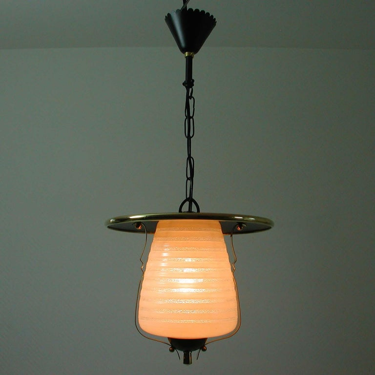 Italian Midcentury Lantern Pendant, Ceiling Light, 1950s For Sale 2