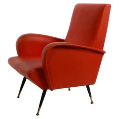 Italian Midcentury Lounge Chair with Red Original Faux Leather Cover