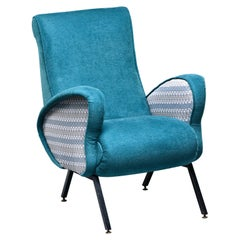 Italian Mid Century Lounge Chair with Turquoise Chenille Upholstery