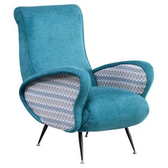 Italian Mid Century Lounge Chair with Two-Tone Upholstery