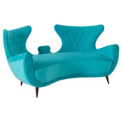 Italian Midcentury Loveseats Sofa in Blue Velvet Restored, 1950s