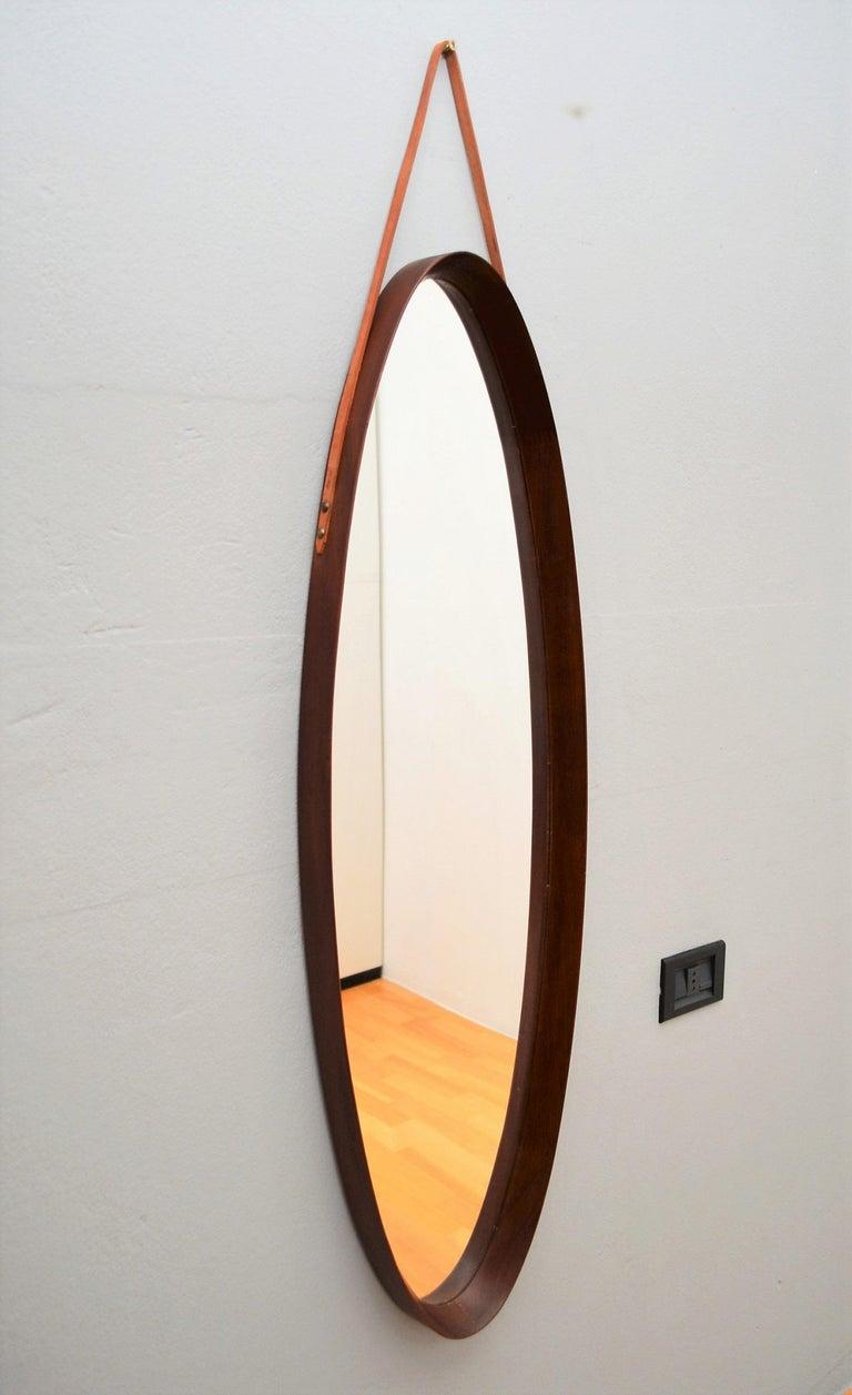 Italian Midcentury Mahogany Wall Mirror, 1950s For Sale 14