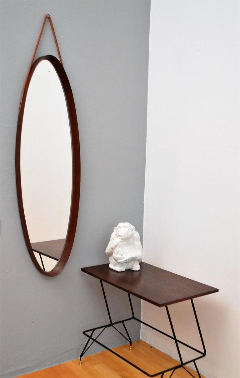 Mid-Century Modern Italian Midcentury Mahogany Wall Mirror, 1950s For Sale