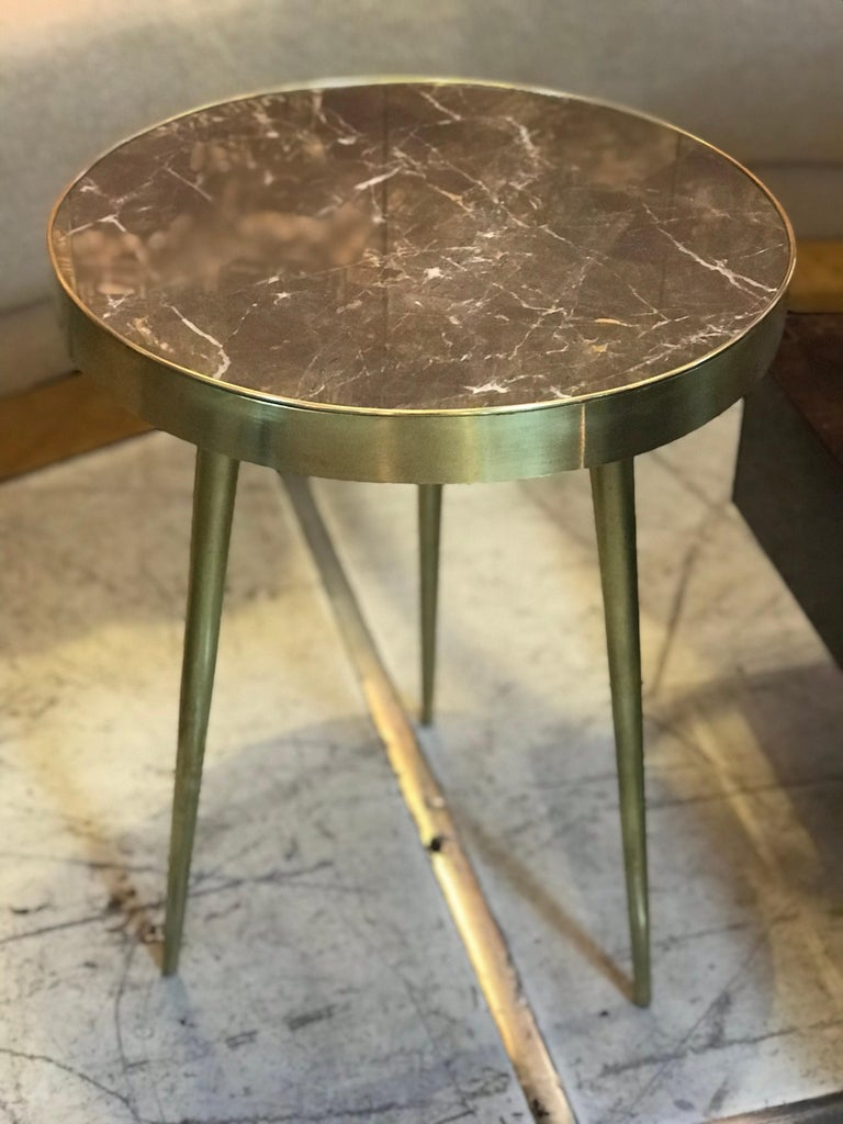 Italian Midcentury Marble and Brass Side Tables For Sale 5