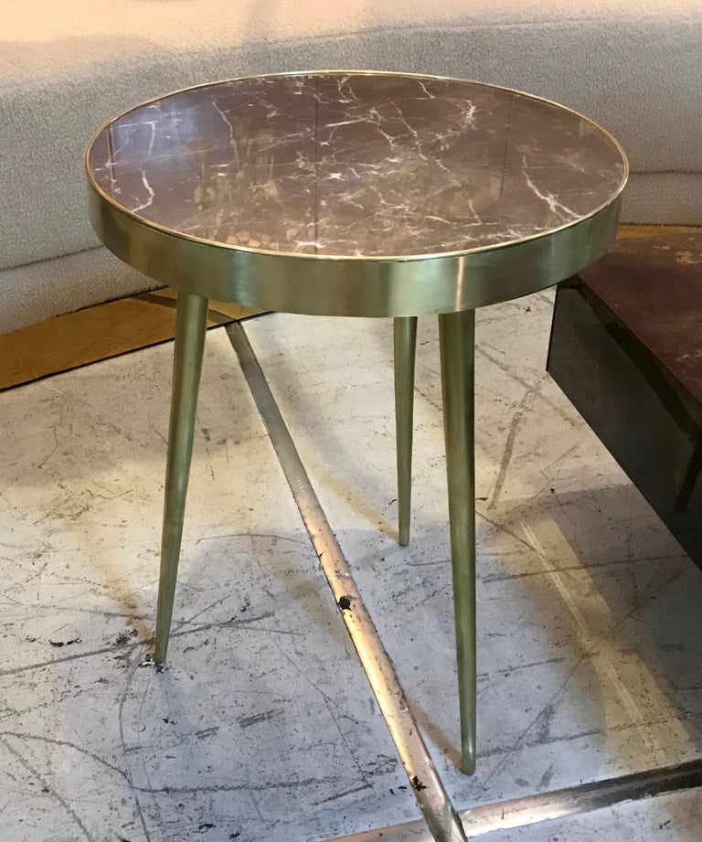 Mid-Century Modern Italian Midcentury Marble and Brass Side Tables For Sale