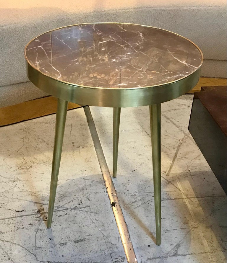 Italian Midcentury Marble and Brass Side Tables In Good Condition For Sale In Miami, FL