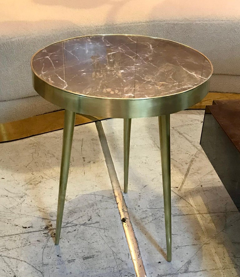 20th Century Italian Midcentury Marble and Brass Side Tables For Sale