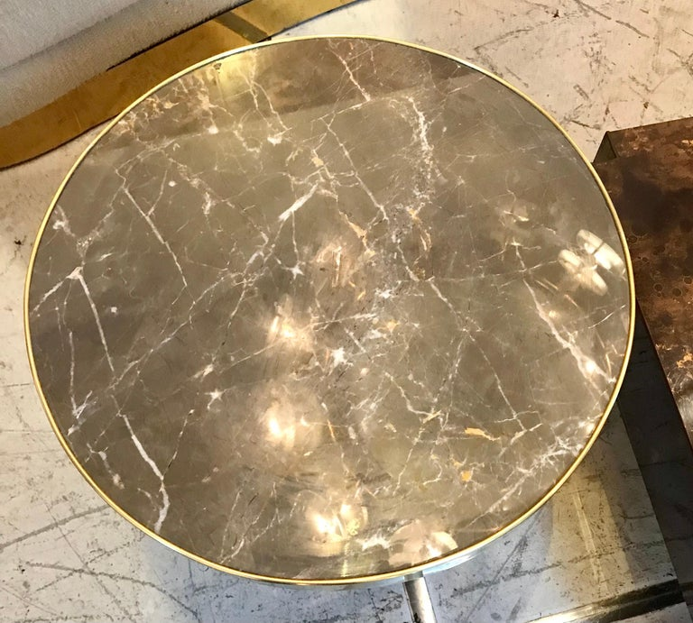 Italian Midcentury Marble and Brass Side Tables For Sale 1