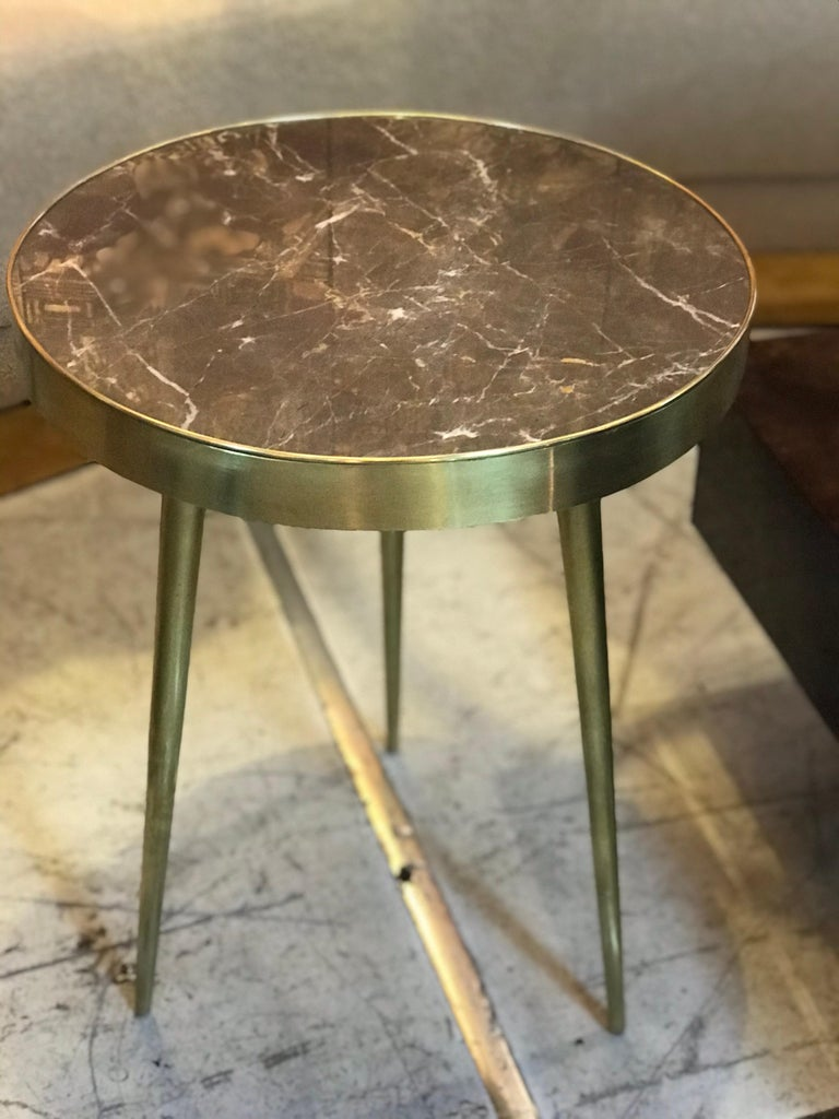 Italian Midcentury Marble and Brass Side Tables For Sale 2