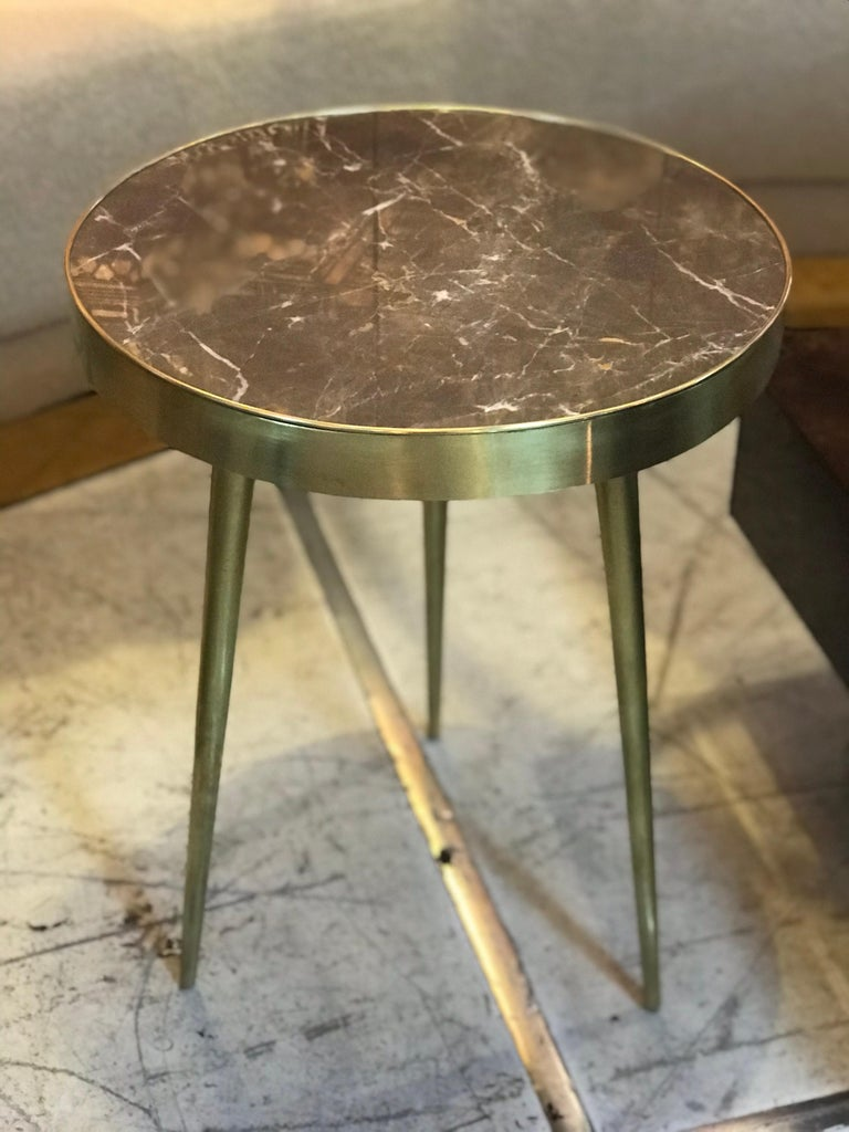 Italian Midcentury Marble and Brass Side Tables For Sale 3