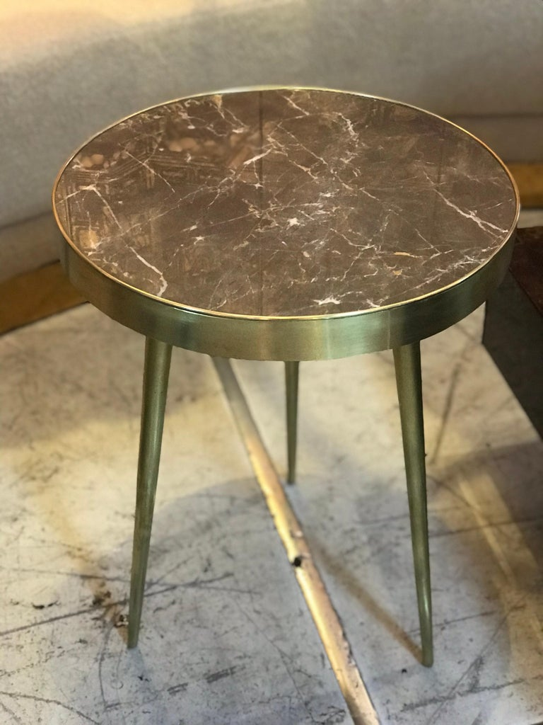 Italian Midcentury Marble and Brass Side Tables For Sale 4