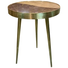 Italian Midcentury Marble and Brass Side Tables