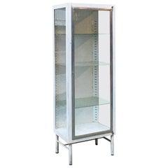 Italian Mid-Century Metal Display Cabinet with Three Internal Shelves, 1950s