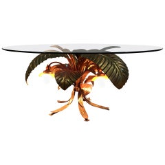 Italian Mid Century Metal Palm Tree Table with Lights