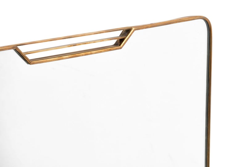 Brass Italian Midcentury Mirror in the Style of Paolo Buffa For Sale