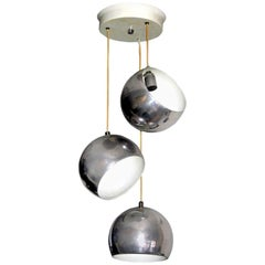 Italian Mid-Century Modern Adjustable 3 Ball Suspension Pendant  Stilnovo Style