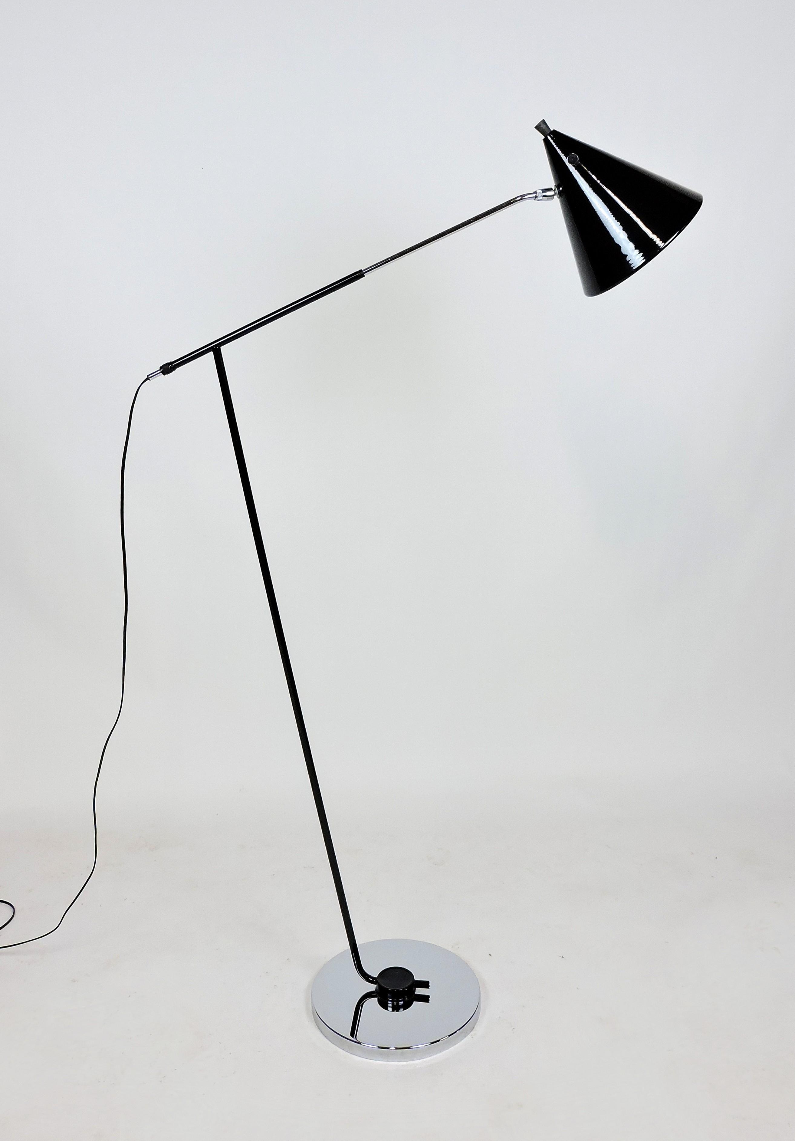Italian Mid Century Modern Adjustable Floor Lamp With Cone Shade