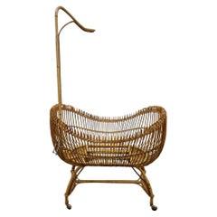 Italian Mid-Century Modern Bamboo Cradle, 1950s