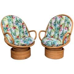 Italian Mid-Century Modern Bamboo Pair of Lounge Rotative Armchairs with Cushion