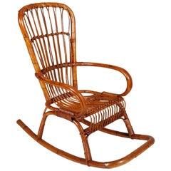 Italian Mid-Century Modern Bamboo Rocking Chair